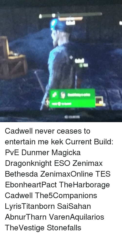 Eans Cadwell Never Ceases to Entertain Me Kek Current Build PvE