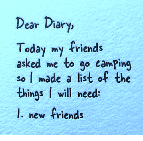Dank, Friends, and Today: ear Diary,  Today my friends  asked me to go camPing  so I made a list of the  things I will need  l. new friends