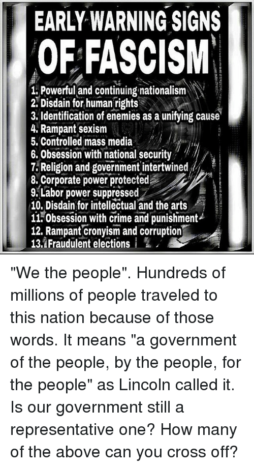 Early Warning Signs Of Fascism 1 Powerful And Continuing Nationalism