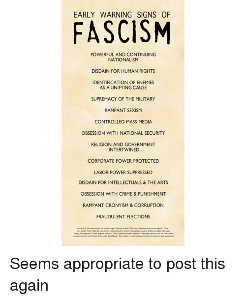 Early Signs Of Fascism >> Early Warning Signs Of Fascism Powerful And Continuing Nationalism