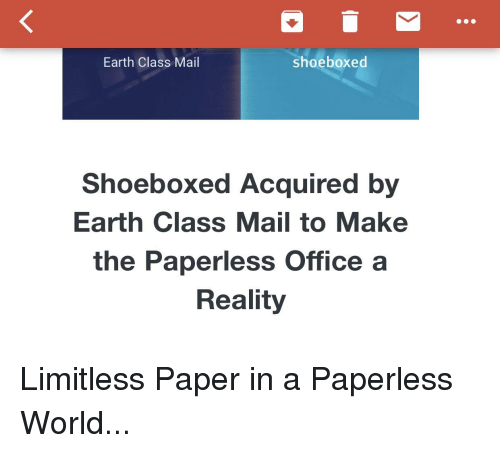 Earth Class Mail Shoeboxed Shoeboxed Acquired by Earth Class