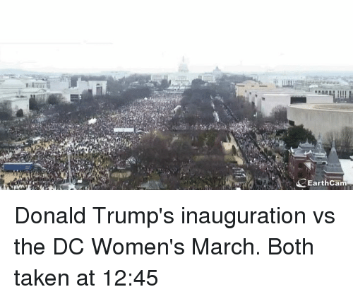 Memes, 🤖, and March: EarthCam Donald Trump's inauguration vs the DC Women's March. Both taken at 12:45