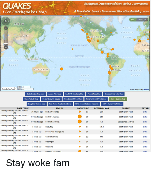 Earthquake data imported from vanousgovemments quakes live quake live gumiabroncs Image collections