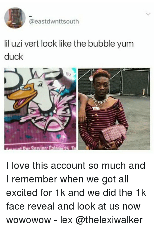 Love, Memes, and Duck: @east dwnttsouth  lil uzi vert look like the bubble yum  duck  par Saruinn Cal I love this account so much and I remember when we got all excited for 1k and we did the 1k face reveal and look at us now wowowow - lex @thelexiwalker