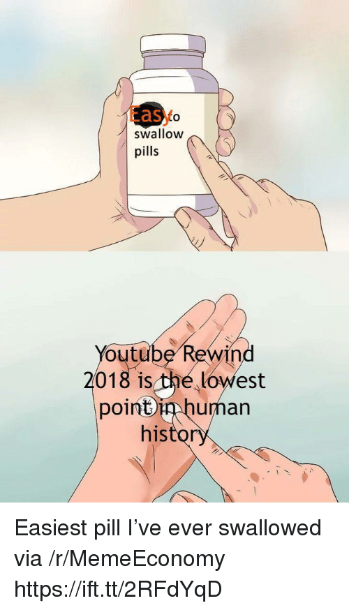 youtube.com, Human, and Easy: Easy  to  swallOW  pills  Youtube Rewind  2018 is the lowest  poinbin human  histo  01 Easiest pill I've ever swallowed via /r/MemeEconomy https://ift.tt/2RFdYqD