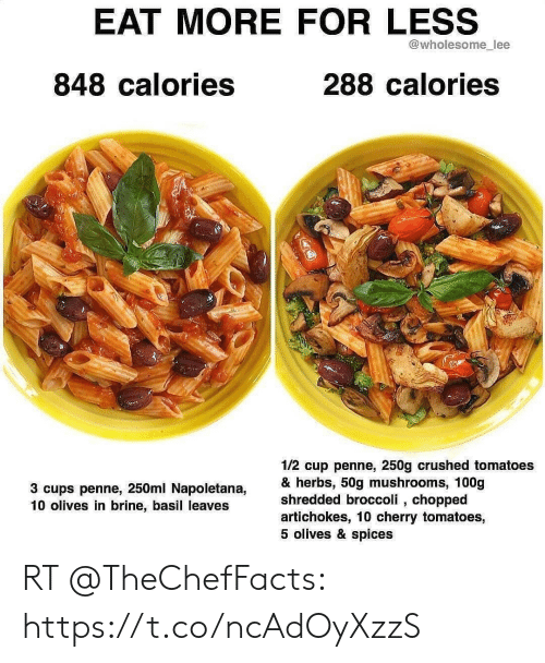EAT MORE FOR LESS Lee 848 Calories 288 Calories 12 Cup Penne 250g