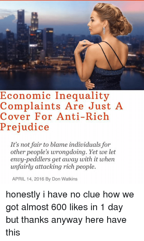 Economic Inequality Complaints Are Just a Cover for Anti-Rich