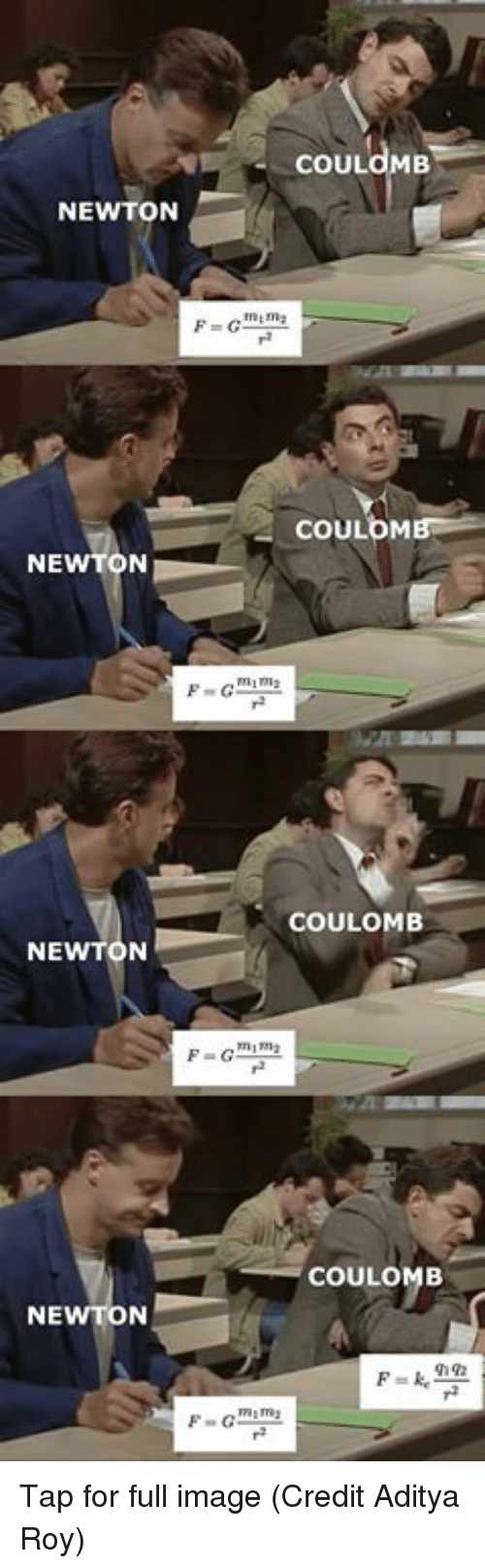 Memes, Image, and 🤖: ECOULOMB  NEWTON  COULOM  NEWTON  F-Giim  COULOMB  NEWTON  P-GIM  COULOMB  NE  F-om Tap for full image  (Credit Aditya Roy)