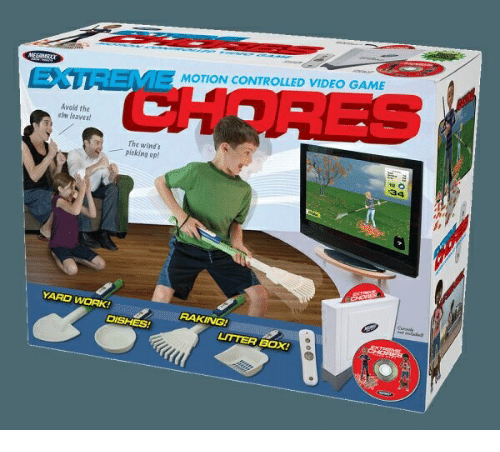 Work, Video, and Box: ECTUAME MOTION CONTROLLED VIDEO GAM  Avoid the  n leaves  The winds  picking op!  YARD WORK  RAKING  DISHES!  ITTER BOX