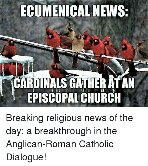 Church, Cardinals, and Catholic: ECUMENICAL NEWS:  CARDINALS GATHER ATAN  EPISCOPAL CHURCH Breaking religious news of the day:  a breakthrough in the Anglican-Roman Catholic Dialogue!