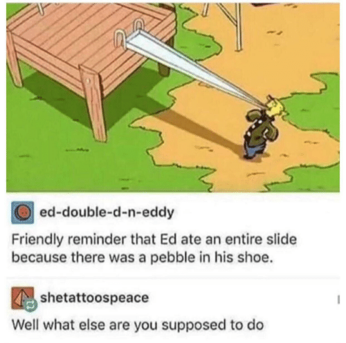 Shoe, Double, and You: ed-double-d-n-eddy  Friendly reminder that Ed ate an entire slide  because there was a pebble in his shoe.  shetattoospeacdodo  Well what else are you supposed to do