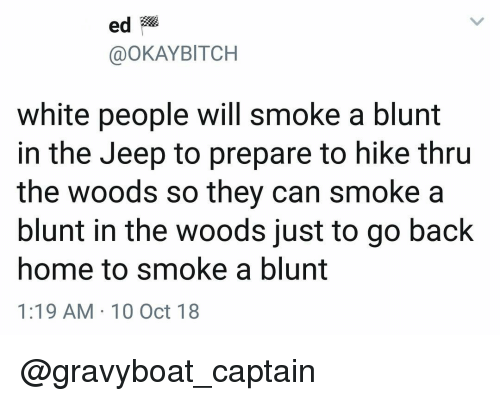 Memes, White People, and Home: ed  @OKAYBITCH  white people will smoke a blunt  in the Jeep to prepare to hike thru  the woods so they can smoke a  blunt in the woods just to go back  home to smoke a blunt  1:19 AM 10 Oct 18 @gravyboat_captain