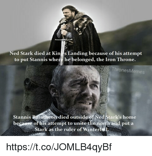 ed stark died at kin s landing because of his 23631421 ✅ 25 best memes about stannis baratheon stannis baratheon memes