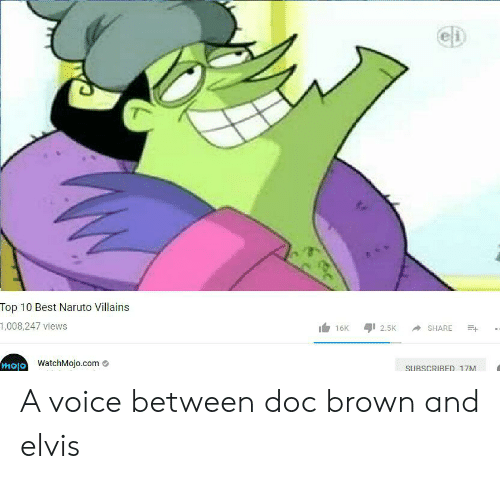Naruto, Reddit, and Best: eD  Top 10 Best Naruto Villains  1,008,247 views  16K  2,5K  SHARE  mojo WatchMojo.com  SUBSCRIBED 17M A voice between doc brown and elvis