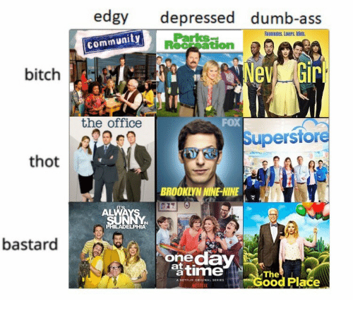 Ass, Bitch, and Community: edgy depressed dumb-ass  Roommates. Lovers. Idiuts.  Parks  community  Receation  bitch  the office  FoX  Superstore  thot  BROOKLYNNINE-NINE  ALWAYS 7  IN  ELPHIA  bastard  onedaY  timed Place  The  A NETFLIK ORIGINAL SERIES