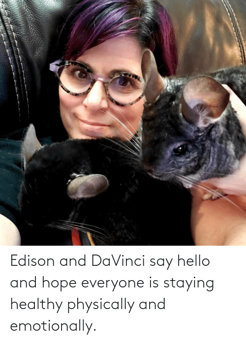 Hello, Edison, and Hope: Edison and DaVinci say hello and hope everyone is staying healthy physically and emotionally.
