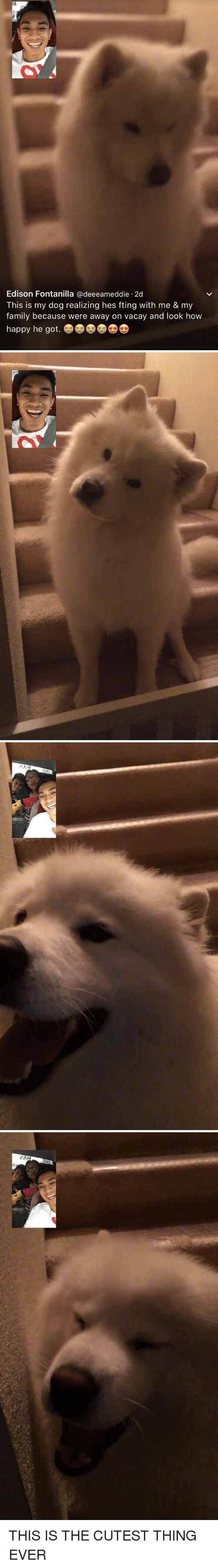 Family, Edison, and Happy: Edison Fontanilla @deeeameddie.2d  This is my dog realizing hes fting with me & my  family because were away on vacay and look how  happy he got. <p>THIS IS THE CUTEST THING EVER<br/></p>