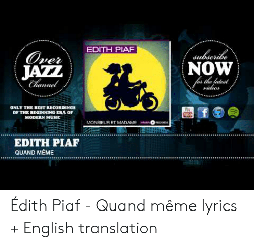 EDITH PIAF Sulscrie NOW the Fatest Over JAZZ Channel Videod