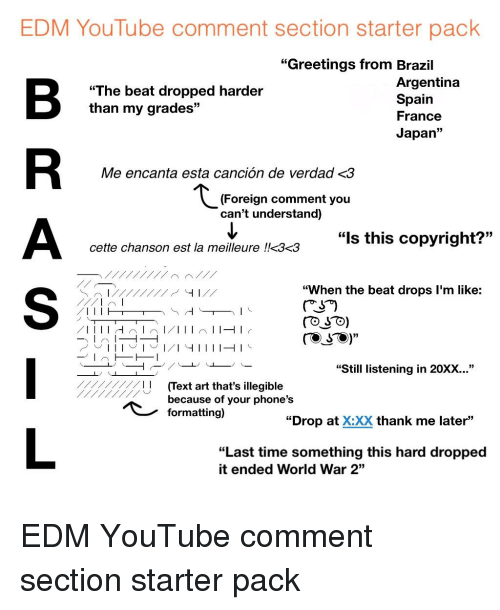 Edm youtube comment section starter pack greetings from brazil starter packs youtube and argentina edm youtube comment section starter pack m4hsunfo
