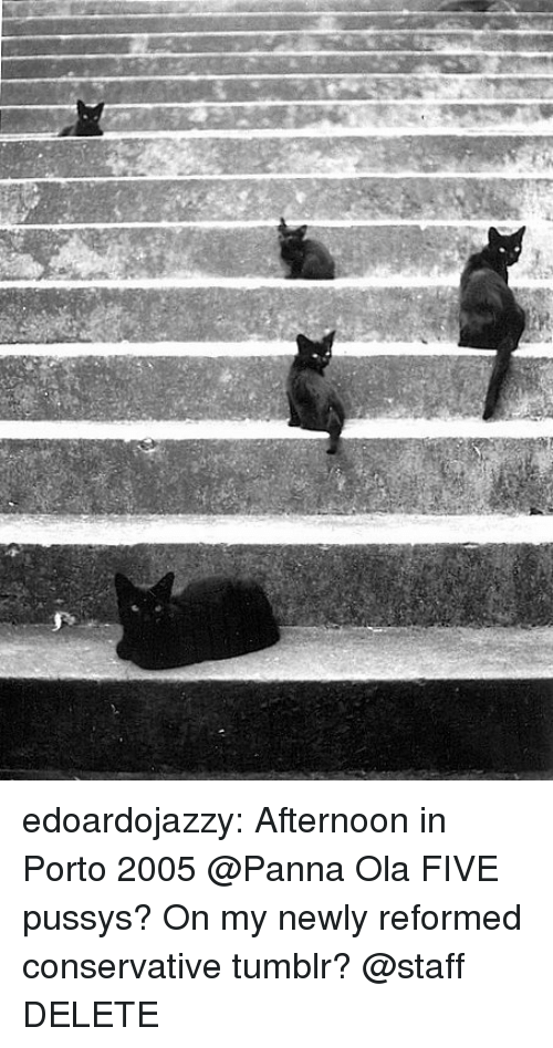 Tumblr, Blog, and Conservative: edoardojazzy:  Afternoon in Porto 2005  @Panna Ola  FIVE pussys? On my newly reformed conservative tumblr? @staff DELETE