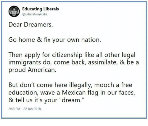 Educating Liberals Dear Dreamers Go Home & Fix Your Own
