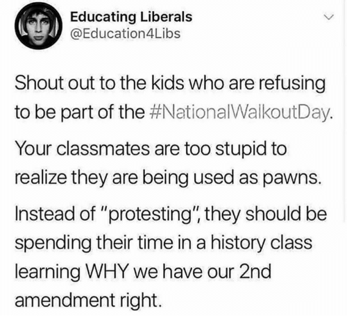 """Memes, History, and Kids: Educating Liberals  @Education4Libs  Shout out to the kids who are refusing  to be part of the #NationalWalkoutDay.  Your classmates are too stupid to  realize they are being used as pawns.  Instead of """"protesting"""" they should be  spending their time in a history class  learning WHY we have our 2nd  amendment right."""