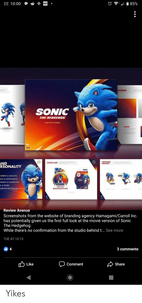 EE 1000 Ebay ATTERNS SONIC THE HEDGEHOG FILM STYLE GUIDE