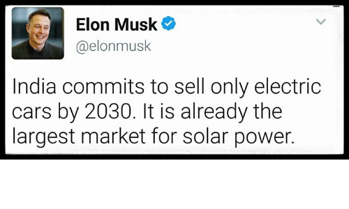 Ee Elon Musk India Commits To Sell Only Electric Cars By It