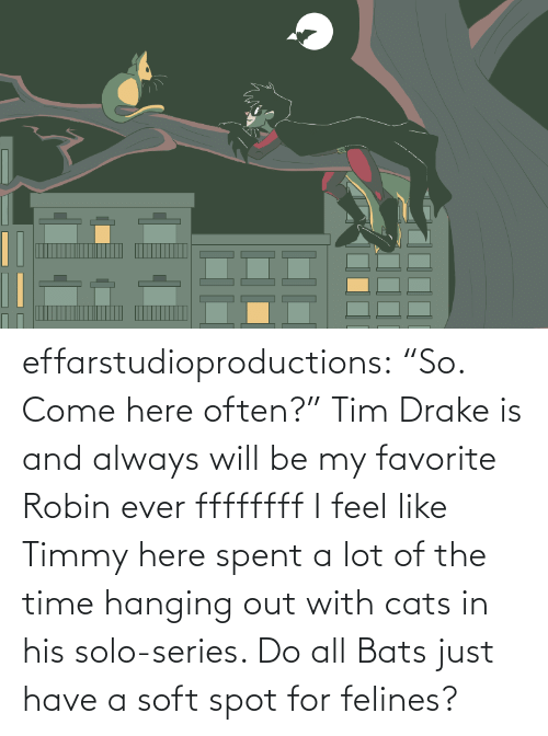 """Cats, Drake, and Target: effarstudioproductions:  """"So. Come here often?"""" Tim Drake is and always will be my favorite Robin everffffffff I feel like Timmy here spent a lot of the time hanging out with cats in his solo-series. Do all Bats just have a soft spot for felines?"""