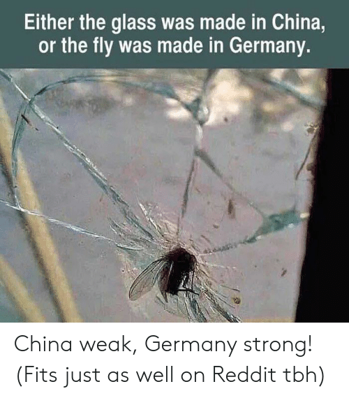 Reddit, Tbh, and China: Either the glass was made in China,  or the fly was made in Germany. China weak, Germany strong! (Fits just as well on Reddit tbh)