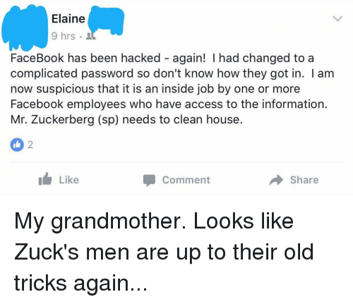 Elaine 9 Hrs FaceBook Has Been Hacked Again! I Had Changed to a