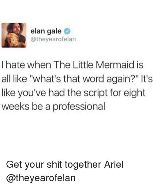 "Ariel, Shit, and The Little Mermaid: elan gale  @theyearofelan  I hate when The Little Mermaid is  all like ""what's that word again?"" It's  like you've had the script for eight  weeks be a professional Get your shit together Ariel @theyearofelan"