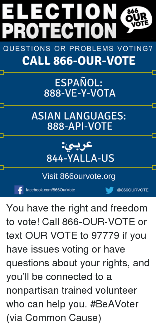 Asian, Facebook, and Memes: ELECTION PROTECTION 866 OUR VOTE QUESTIONS OR  PROBLEMS VOTING