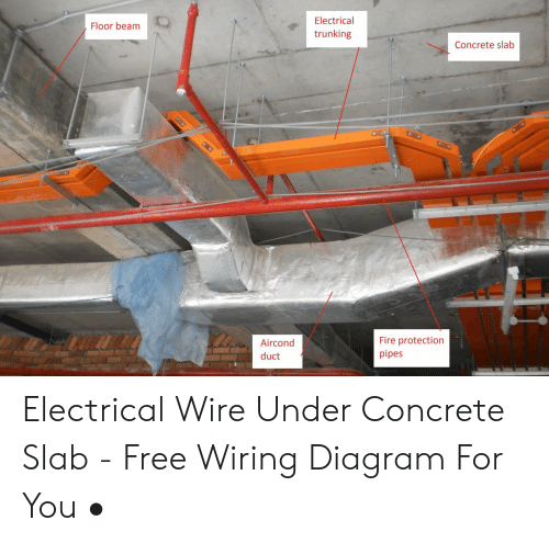 fire, free, and diagram: electrical floor beam trunking concrete slab fire  protection pipes