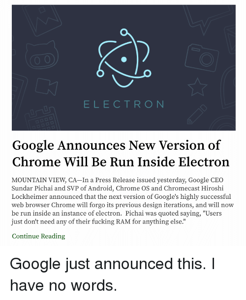 ELECTRO N Google Announces New Version of Chrome Will Be Run