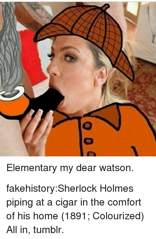 Sherlock Holmes, Tumblr, and Blog: Elementary my dear watson. fakehistory:Sherlock Holmes piping at a cigar in the comfort of his home (1891; Colourized) All in, tumblr.