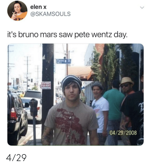 Bruno Mars, Saw, and Mars: elen x  @SKAMSOULS  it's bruno mars saw pete wentz day  04/29/2008 4/29