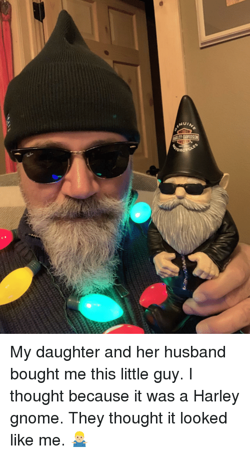 Husband, Thought, and Harley: ELEY-DAVIDSON My daughter and her husband bought me this little guy. I thought because it was a Harley gnome. They thought it looked like me. 🤷🏼‍♂️