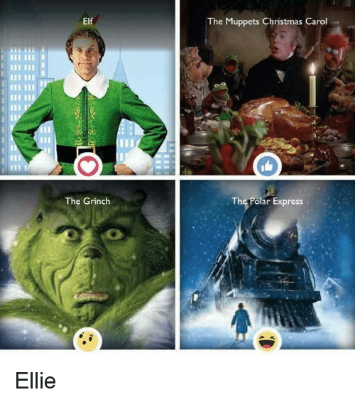 Elf The Grinch The Muppets Christmas Carol The Polar Express Ellie