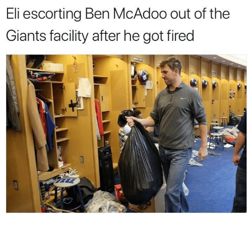 Ben McAdoo, Nfl, and Giants: Eli escorting Ben McAdoo out of the  Giants facility after he got fired