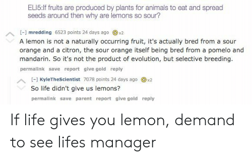 Animals, Life, and Evolution: ELI5:If fruits are produced by plants for animals to eat and spread  seeds around then why are lemons so sour?  - mredding 6523 points 24 days ago x2  A lemon is not a naturally occurring fruit, it's actually bred from a sour  orange and a citron, the sour orange itself being bred from a pomelo and  mandarin. So it's not the product of evolution, but selective breeding.  permalink save report give gold reply  H KyleTheScientist 7078 points 24 days ago x2  So life didn't give us lemons?  permalink save parent report give gold reply If life gives you lemon, demand to see lifes manager