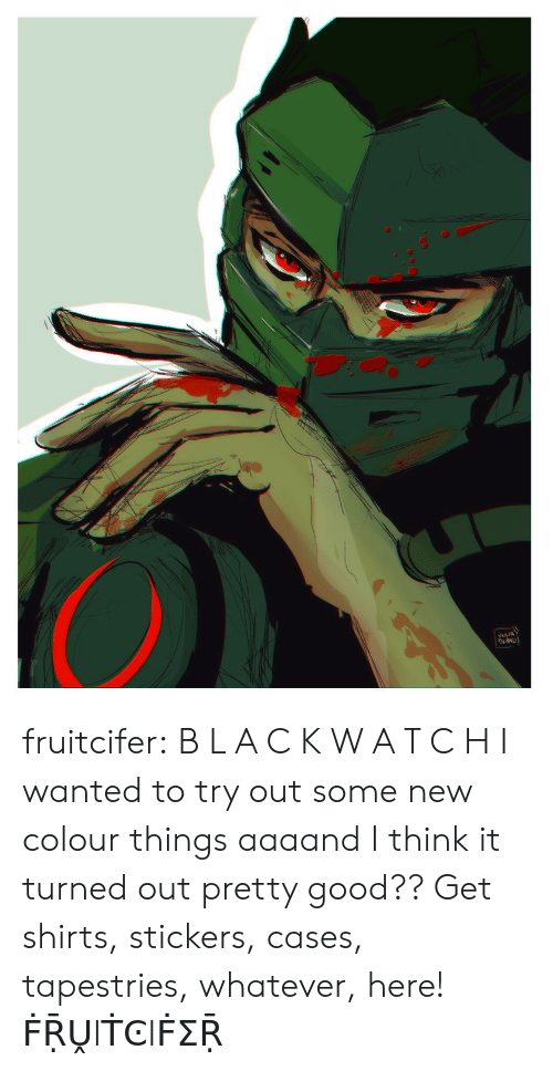 Tumblr, Blog, and Good: ELIA fruitcifer:  B L A C K W A T C H I wanted to try out some new colour things aaaand I think it turned out pretty good?? Get shirts, stickers, cases, tapestries, whatever, here! ḞṜṶIṪϾIḞΣṜ