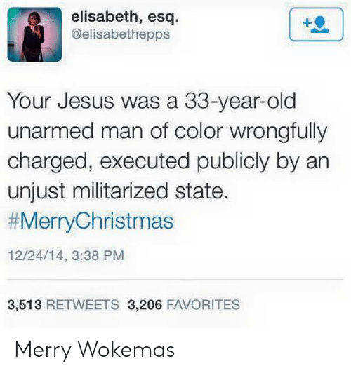 Jesus, Old, and Color: elisabeth, esq.  @elisabethepps  Your Jesus was a 33-year-old  unarmed man of color wrongfully  charged, executed publicly by an  unjust militarized state.  #MerryChristmas  12/24/14, 3:38 PM  3,513 RETWEETS 3,206 FAVORITES Merry Wokemas