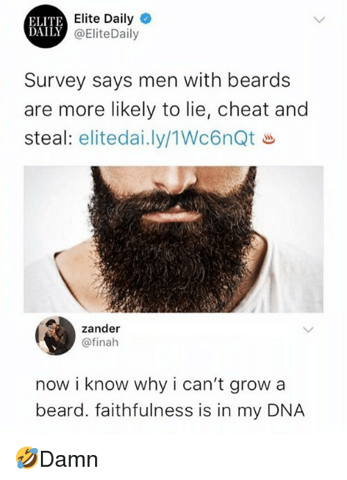 Beard, Memes, and Beards: ELITE  DAILY  Elite Daily  @EliteDaily  Survey says men with beards  are more likely to lie, cheat and  steal: eliteda..ly/1Wc6nQt ㅛ  zander  @finah  now i know why i can't grow a  beard. faithfulness is in my DNA 🤣Damn