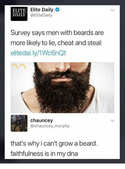 ELITE DAILY Elite Daily Survey Says Men With Beards Are More Likely