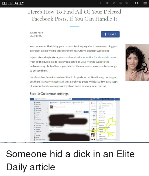 ELITE DAILY Here's How to Find All of Your Deleted Facebook Posts if