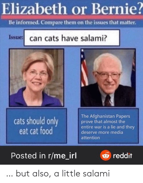 Cats, Food, and Afghanistan: Elizabeth or Bernie?  Be informed. Compare them on the issues that matter.  Issue: can cats have salami?  The Afghanistan Papers  prove that almost the  entire war is a lie and they  deserve more media  cats should only  eat cat food  attention  Posted in r/me_irl  Oreddit … but also, a little salami