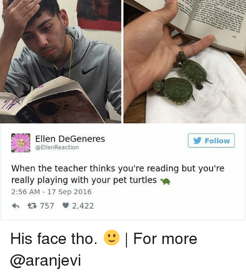 Ellen DeGeneres, Memes, and Ellen: Ellen DeGeneres  Follow  ta EllenReaction  When the teacher thinks you're reading but you're  really playing with your pet turtles  2:56 AM 17 Sep 2016  4h 757 2,422 His face tho. 🙂 | For more @aranjevi