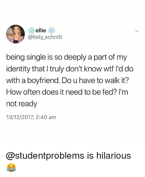 Wtf, Boyfriend, and British: ellie  @holy_schnitt  being single is so deeply a part of my  identity that l truly don't know wtf I'd do  with a boyfriend. Do u have to walk it?  How often does it need to be fed? I'm  not ready  13/12/2017, 2:40 am @studentproblems is hilarious😂