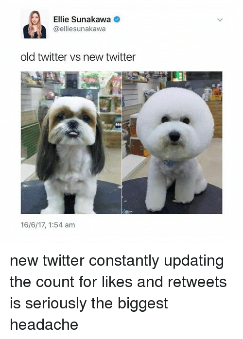 Memes, Twitter, and Old: Ellie Sunakawa  @ellie sunakawa  old twitter vs new twitter  16/6/17, 1:54 am new twitter constantly updating the count for likes and retweets is seriously the biggest headache